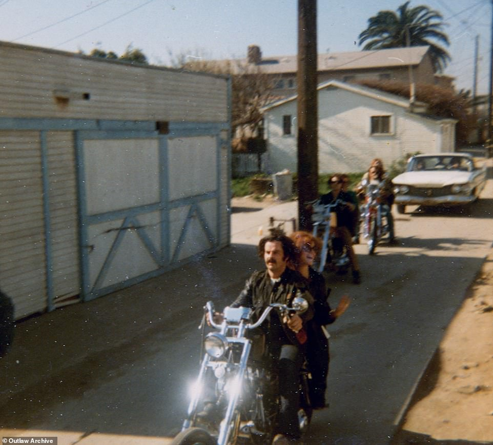 Above, Rotten Ralph and Torye on the front bike with other Straight Satans on a ride through the Venice Beach Canals in 1970