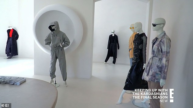 Pricey duds: The SKIMS founder also confessed that the mannequins cost as much to rent as the designer pieces