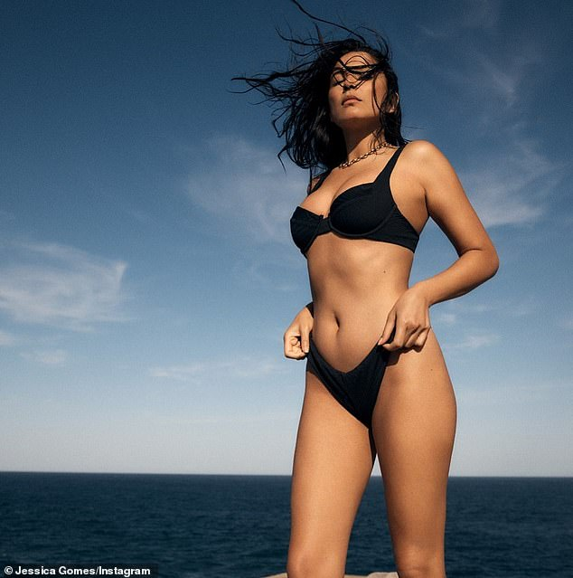 Friendly: Dustin Martin and Jessica Gomes (pictured) are rumoured to be getting close, according to a new report on Saturday