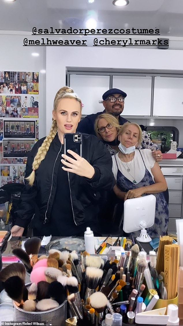 Stunner:Posting to her Instagram, the blonde beauty's flawless face was glowing as she posed for a mirror selfie.The star appeared to have in hair extensions, as she was rocking an extra-long and thick blonde plait