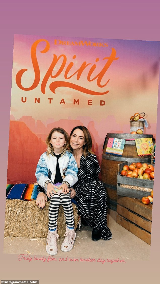Fun:Kate Ritchie shared rare photos of herself alongside her daughter Mae, six, during a trip to the cinema at the Hoyts Entertainment Quarter in Sydney on Saturday. Both pictured