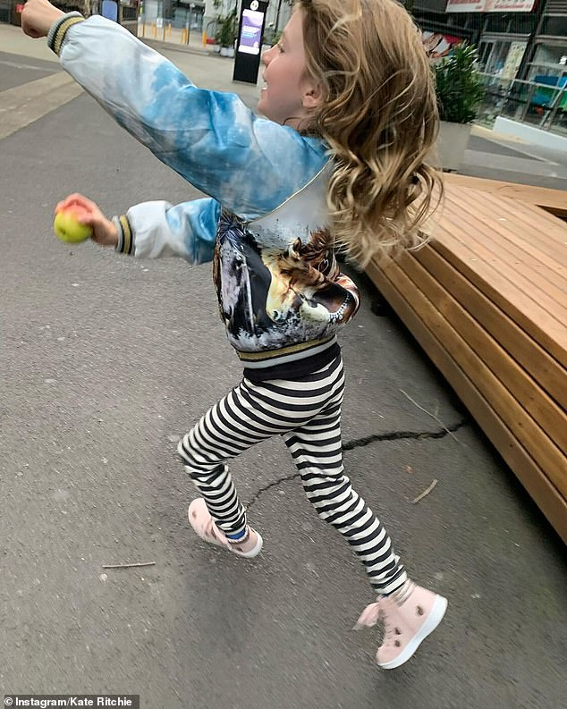 Capturing moments:Kate also snapped an action shot of her daughter skipping around the around the precinct