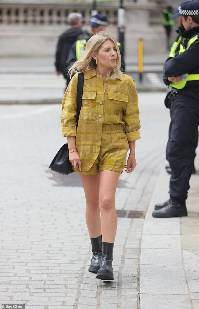 Fashionista:Mollie King put on a leggy display as she arrived to work at the Radio 1 studio in London on Saturday