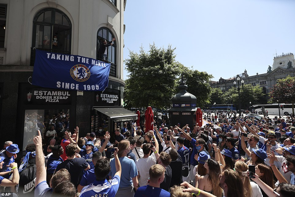 Chelsea supporters gather and chant in downtown Porto in Portugal on Saturday