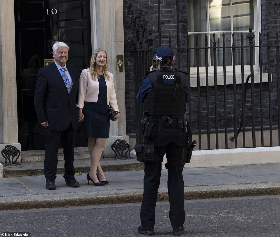 It comes just six days after the couple - who became engaged in December 2019 and have baby Wilfred, aged one - sent out save-the-date cards to guests telling them to keep Saturday, July 30, 2022 free for a marriage celebration. Pictured:The PM's father Stanley Johnson outside No10 yesterday