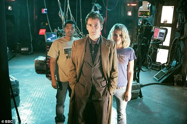 Accusations: This month, Clarke was at the centre of further allegations he sexually harassed or touched others on Doctor Who (pictured on show with David Tennant and Billie Piper)