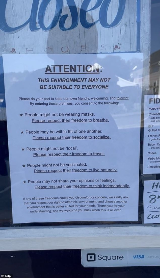 Another sign posted to Yelp in March shows a sign that tells patrons to 'please respect their freedom to breathe' if people are not wearing masks