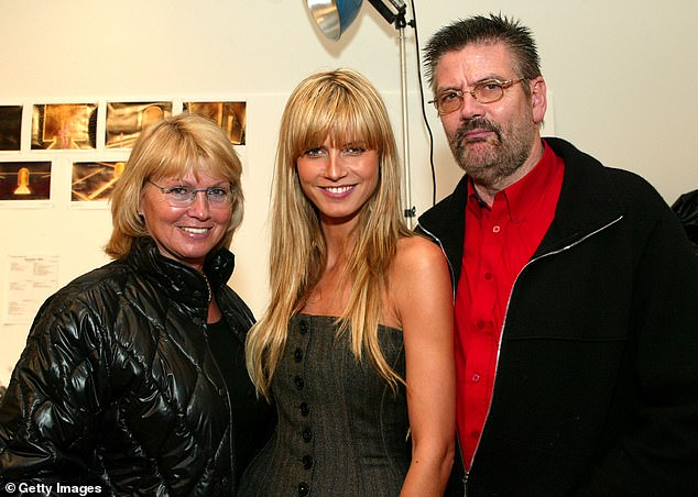 Estranged: Supermodel Heidi is seen with her parents Erna and Gunther Klum during a fitting session for the Victoria's Secret 2002 Fashion Show