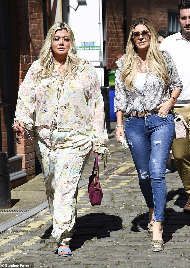 Meeting up: The 40-year-old TV personality met up with The Real Housewives of Cheshire starsfor lunch at Piccolinos on Sunday