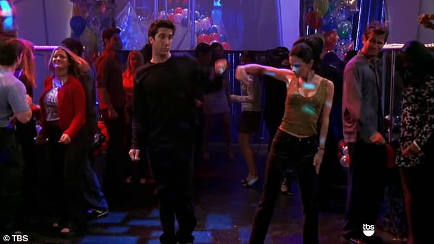Big miss: Sibling Monica and Ross (David Schwimmer) did their dance in hopes of getting on TV at Dick Clark's New Year's Rockin' Eve celebration, but they only made the blooper reel