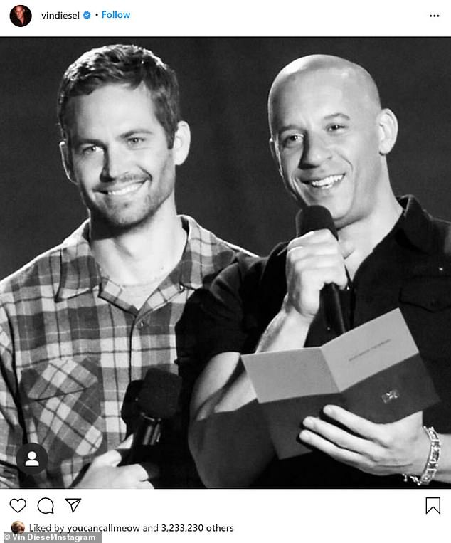 In remembrance: Vin took to Instagram late last year to mark the seventh anniversary of the passing of his Fast and Furious co-star Paul Walker