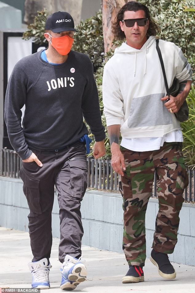 Grab a bite: Two famed frontmen, Coldplay's Chris Martin, 44, and Bush's Gavin Rossdale, 55, enjoyed a brunch in Malibu on Sunday