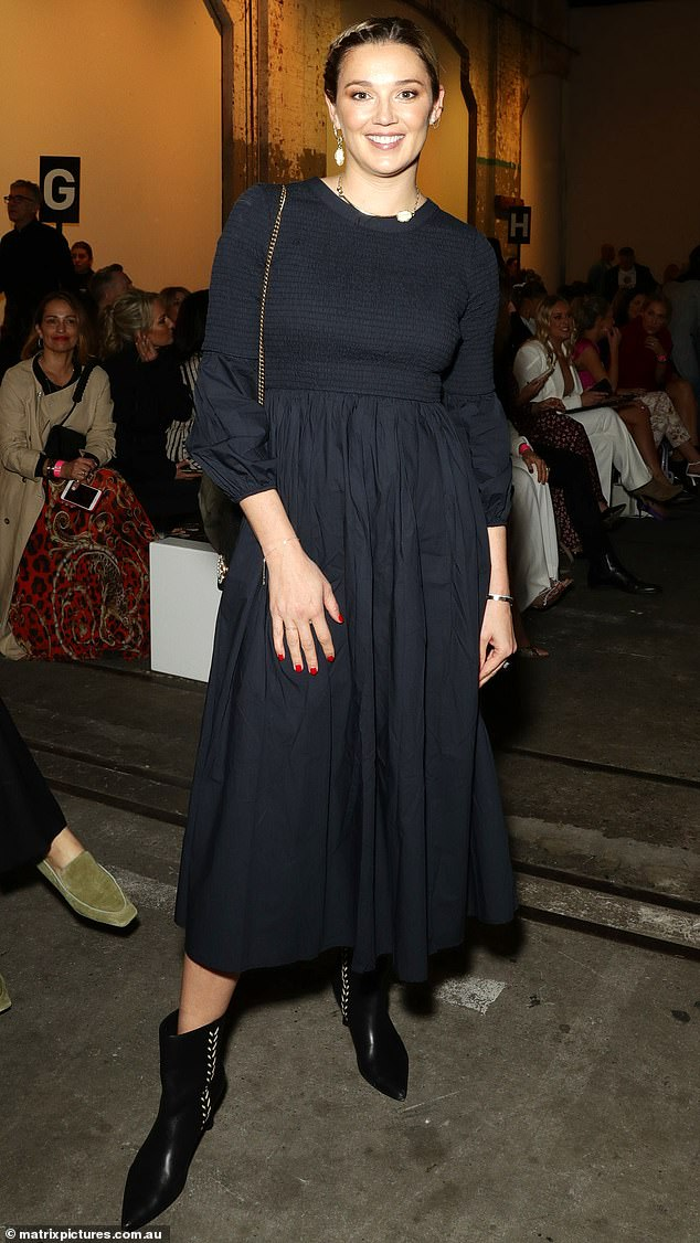 Familiar face: Jasmine Stefanovic was among the celebrity guests at day one of this year's Australian Fashion Week, which was held at Carriageworks in Redfern, Sydney