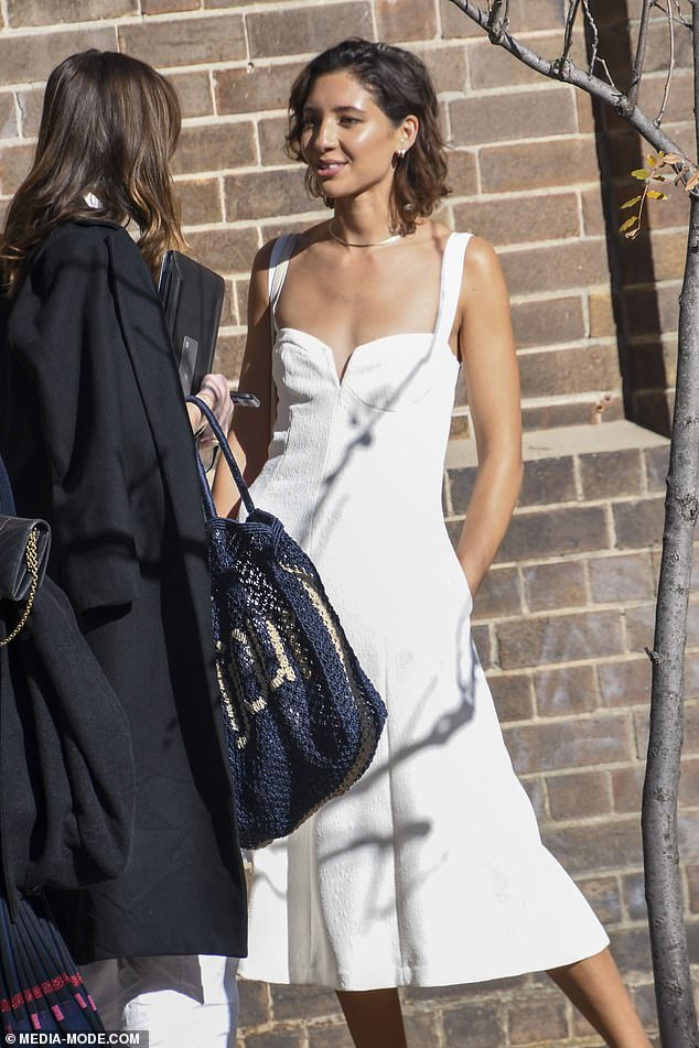 Glamorous: Vanessa stunned in a low-cut white dress as she arrived at the Carriageworks venue in Redfern, where the morning's showcase was taking place