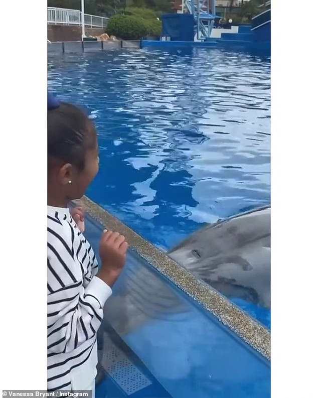 Laughs:When Bianka touches the 'special button,' the dolphin makes a funny noise, which causes the youngster to laugh with delight
