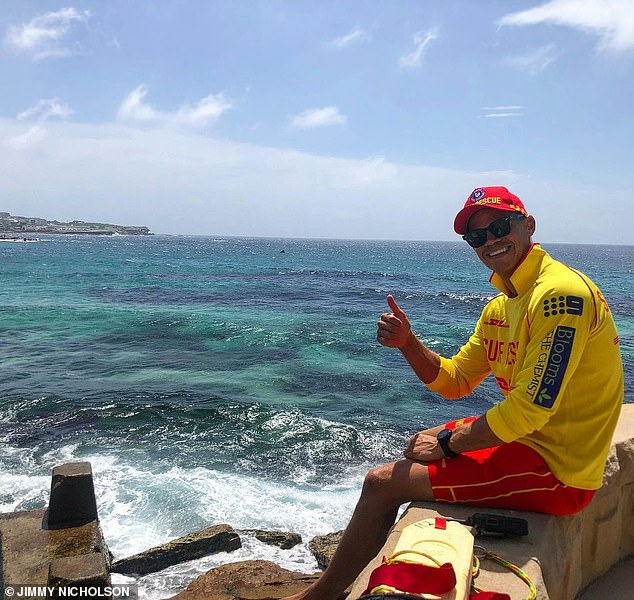 Multitalented: Before signing up to the Channel 10 dating show, Daily Mail Australia can reveal that Jimmy Nicholson, 31, (pictured) was working as a volunteer Surf Life Saver in Sydney