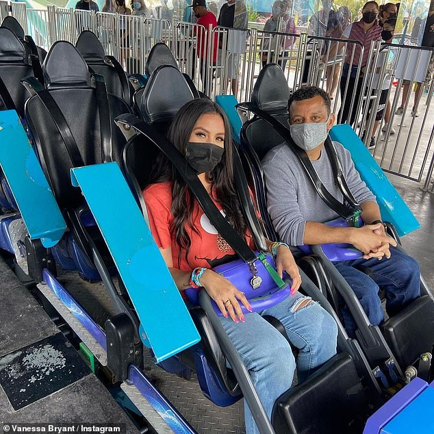 Front seat:She also shared a photo of her and the DJ all strapped in, along with a video of them both in the front car riding the coaster