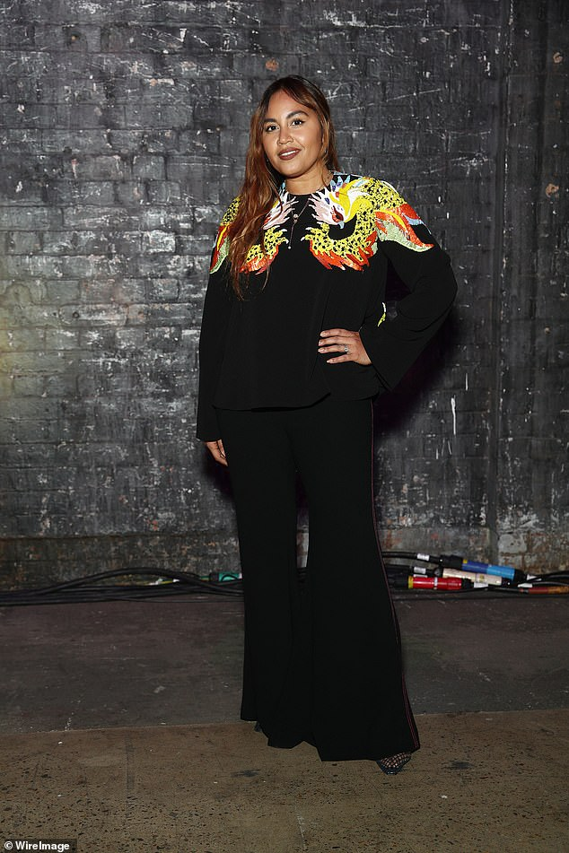 Out and about:The stars were out in droves at the Romance Was Born show at Afterpay Australian Fashion Week 2021 on Monday.Leading the fashion pack was Jessica Mauboy (pictured) who turned heads in a black top and flares set