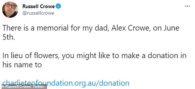Helping to make a difference: Russell suggested fans donate to the Charlie Teo Foundation in lieu of sending flowers