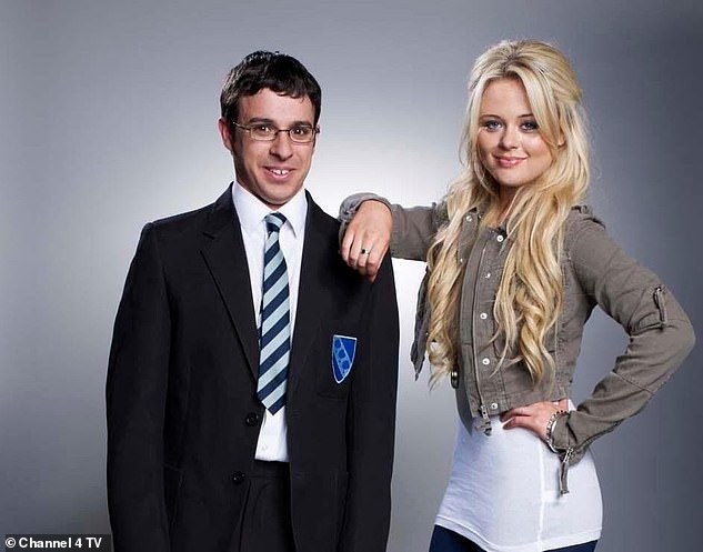 Not everyone:The event will see Joe Thomas, 37, Simon Bird, 36, Blake Harrison, 35, and James Buckley, 33, meet with fans and chat about the show - without some of the other big names from the comedy series including Emily Atack (pictured with Simon Bird) and Greg Davies