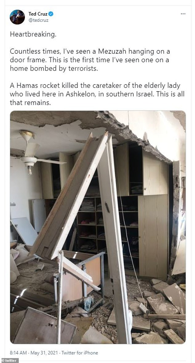 Beore posting the video on Tuesday, Cruz posted images on Monday from his trip to Israeli settlements following the 11-day war between Israel and Hamas showing destruction in Ashkelon, Israel