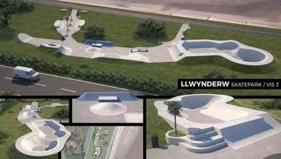 An artist's impression of the skate park expansion proposal at Llwynderw Skatepark