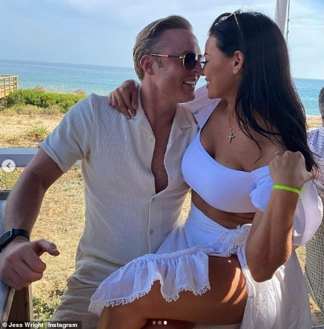 Keeping positive: Taking to Instagram on Monday, the former TOWIE star, 35, shared a wedding themed post and joked it wasn't 'the trip we were supposed to be going on'