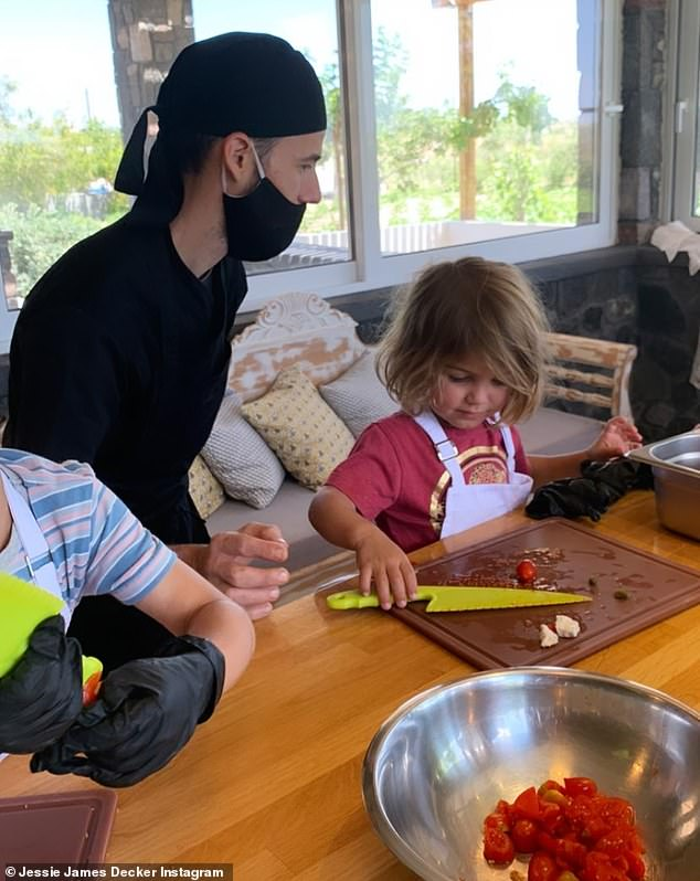 Fine dining: On Monday, Jessie and her family appeared to have moved inland a bit as they ventured to the Artemis Karamolegos Winery, where they got a cooking class