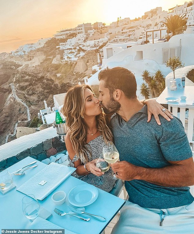 Stunning: Jessie James Decker, 33, shared a romantic sunset kiss with her husband Eric Decker, 34, as she shared more snaps of her gorgeous Greek vacation on Monday