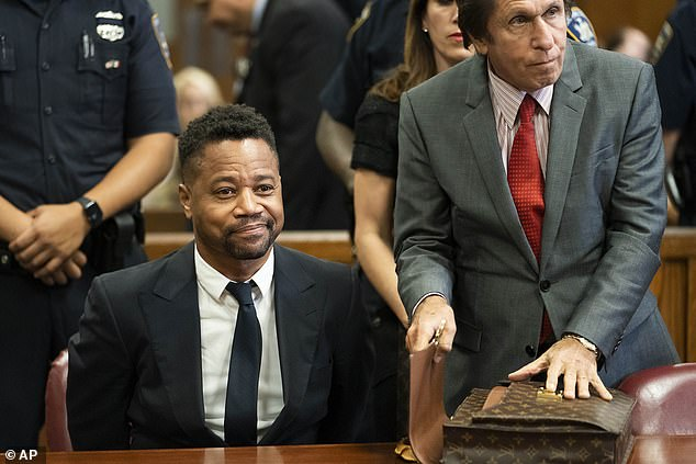 Accusations: Gooding, pictured in court in 2019, is facing six groping charges over three alleged incidents which occurred in 2018 and 2019