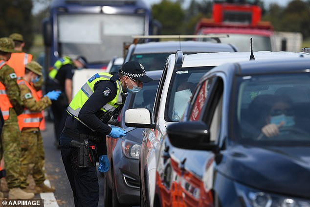 Victoria'spolice association says the state government's 'ring of steel', a series of roadblocks set up around Melbourne last year (pictured) were ineffective and should not be repeated