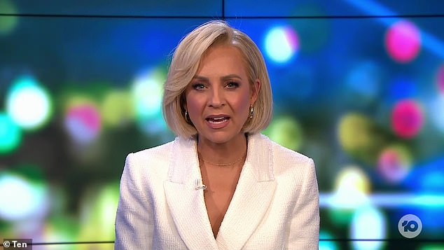 Fired up: The Project co-host Carrie Bickmore (pictured) became angry after claims elderly residents at an aged care facility are still waiting for their first dose of the Covid jab