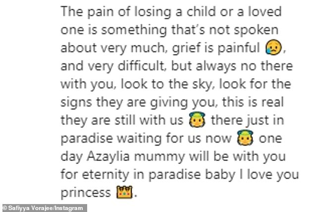 Emotional: In the tribute, Safiyya said: 'Azaylia. How do I cope without you?? The answer is I don't, My heart hurts, my body feels numb, my inside feels painfully sore, I miss you so much'