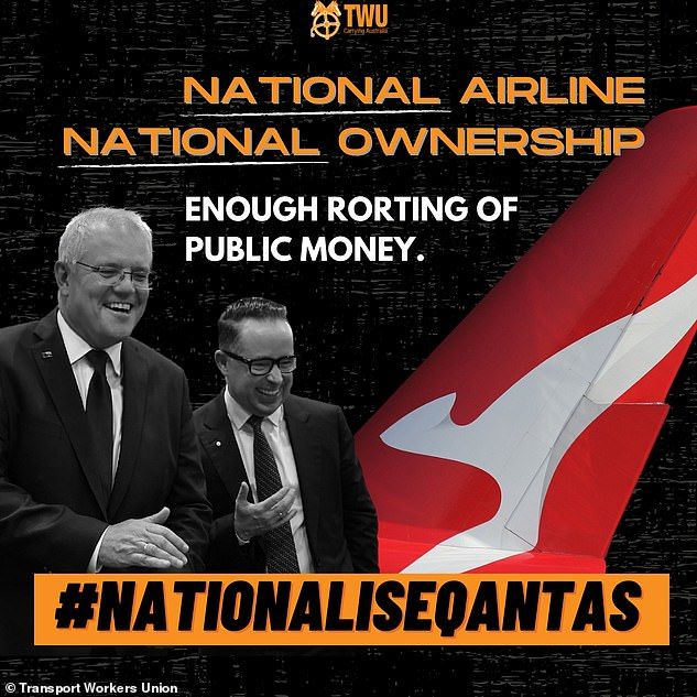 Former prime minister Paul Keating's Labor government privatised the national airline in 1992 with the Qantas Sale Act stipulating it had to have its headquarters in Australia. Pictured is the Transport Workers Union petition