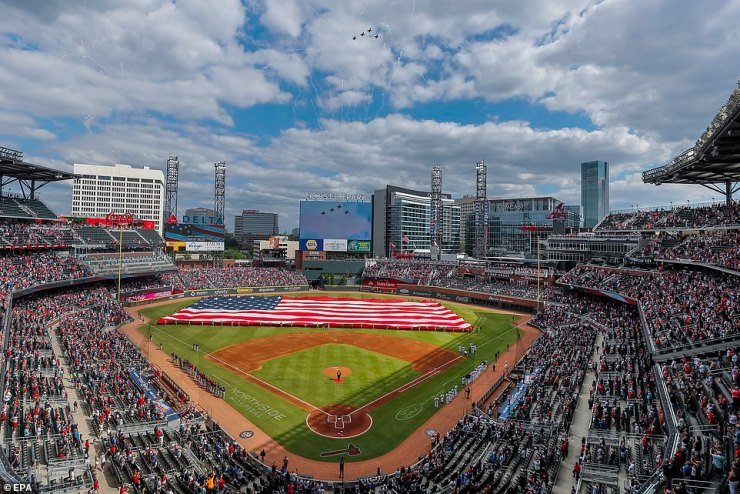 Atlanta, Georgia: Fighter jets flew over Truist Park before a game between the Washington Nationals and the Atlanta Braves on Monday