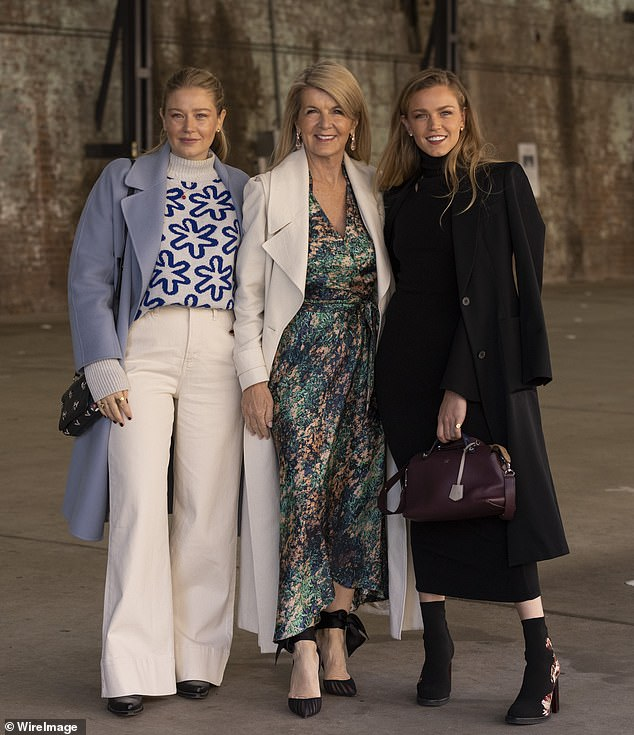 Turning heads: Julie Bishop, 64, dazzled on Tuesday when she returned to Australian Fashion Week at Carriageworks in Sydney. Pictured with Grace Forrest (L) and Sophia Forrest (R)