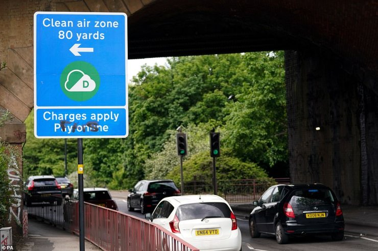 Signs in Birmingham informing road users of the clean air zone initiative, which has come into place today but won't be charging drivers of non-compliant cars until 14 June