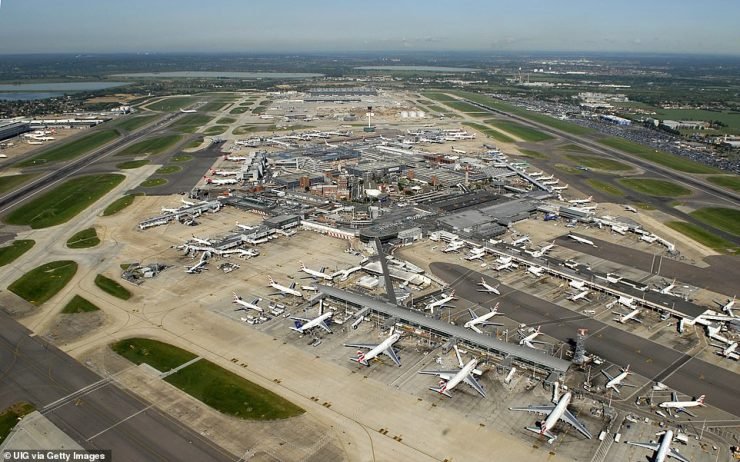 Flights are only permitted from few of the red list nations - including India where the latest variant originates - and arrivals must be British and Irish nationals or UK residents. Pictured: Heathrow Airport