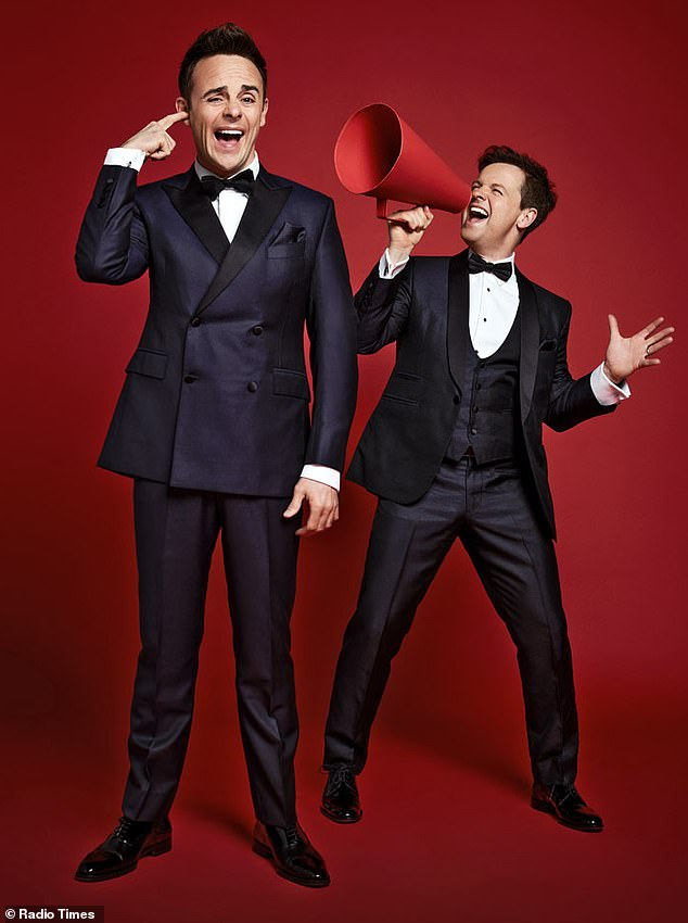 Having a giggle! Ant and Dec were getting playful behind the scenes