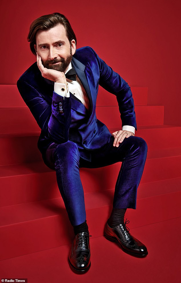 Boy in blue:David Tennant was showing off his jazzy side in a sleek velvet suit in a bright blue shade
