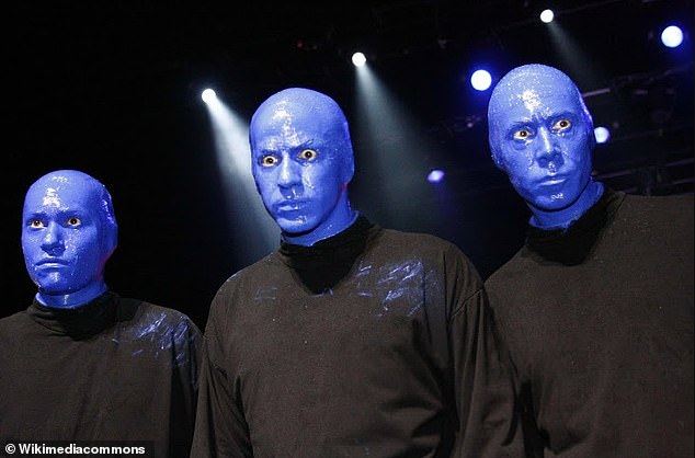 Eva's bright blue face was inspired by the Blue Man Group – an American performance art company featuring three mute, blue faced performers (pictured)