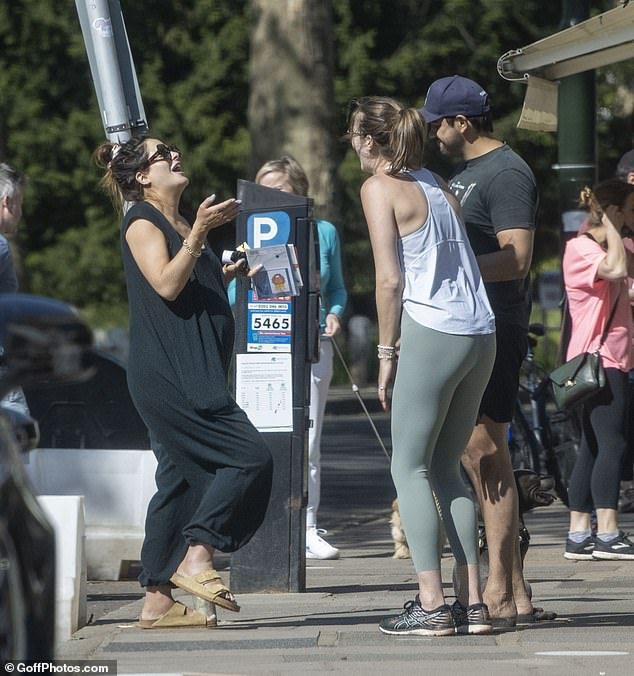 Roaring laughter:The mother-of-one was seen clutching various leaflets and paperwork as she congregated with pals by a parking machine for a quick catch-up