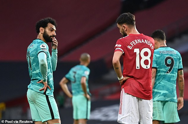 Liverpool's Mo Salah (left) and Bruno Fernandes (right) have also been named in the shortlist