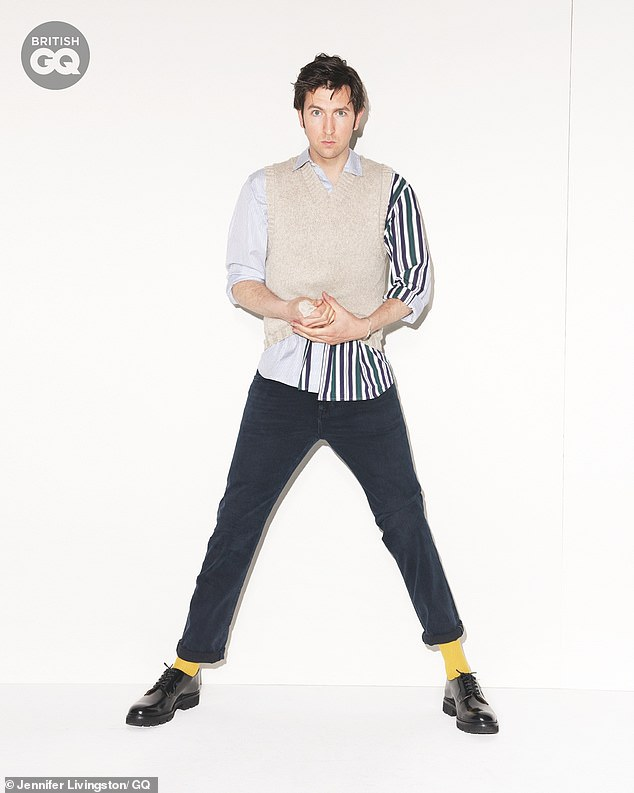 Chameleon: Nicholas looked very different than his Succession character in his shoot for the July issue of British GQ as he dressed in monochrome with bright yellow socks