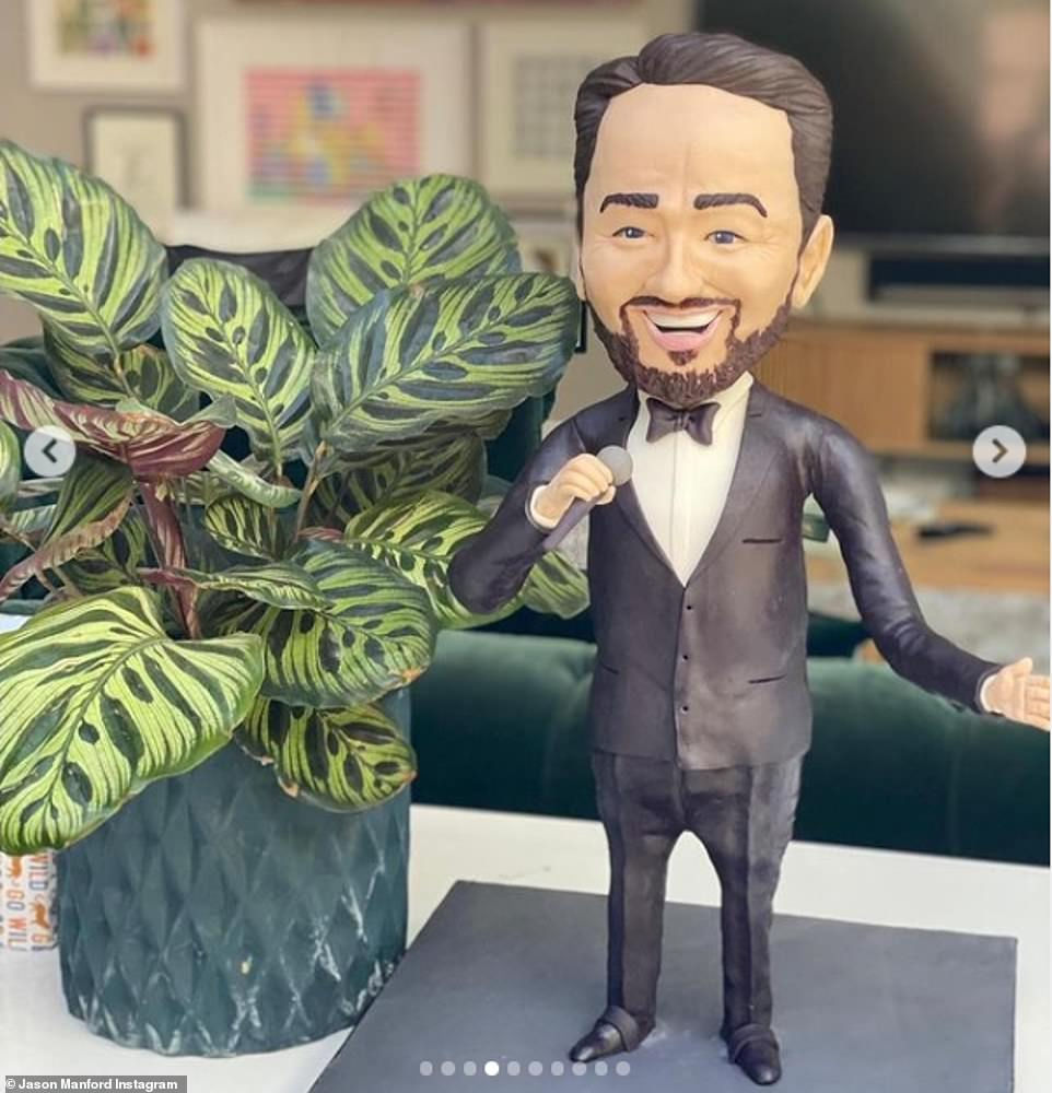 Uncanny: Another impressive addition to Jason's celebration was his lookalike statue, which donned a black suit and bow tie while singing into a microphone