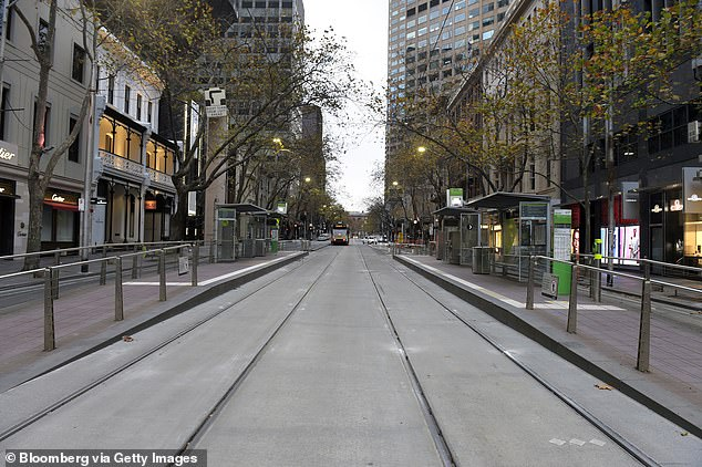 Mr Kennett called Victoria 'the economic sinkhole for Australia' as thousands of businesses were shut down during the latest lockdown. Pictured: A near deserted street in the CBD