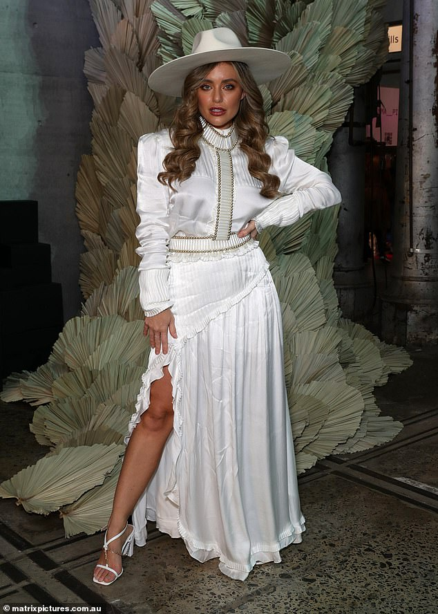 Giddy up! Former Bachelor villain Monique Morley let her inner cowgirl shine as she attended the IXIAH show at Australian Fashion Week in Sydney on Tuesday