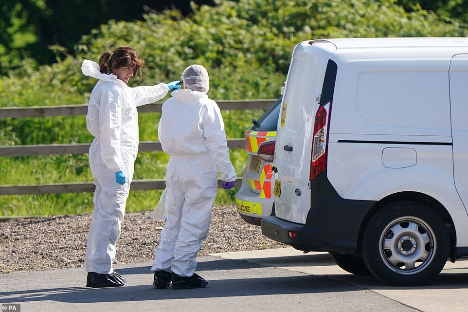 Forensic officers on scene after Daniel Boulton was arrested nearby hours after police launched an extensive manhunt