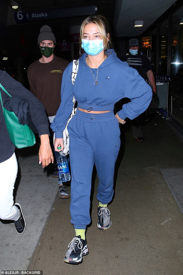 Relaxed:The two opted for comfort when it came to their outfits as the 23-year-old actress sported a navy blue sweatsuit with grey Balenciaga Triple S sneakers