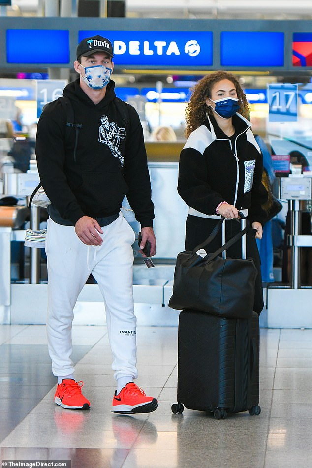 Love is in the air! Tyler Cameron and his new girlfriend Camila Kendra were already off to their next destination as they caught a flight out of New York on Tuesday